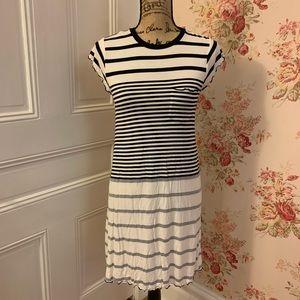 AEO Black and White Striped T Shirt Dress